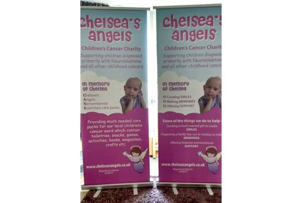 pullup popup banners designed and printed in northampton for chelseas angels